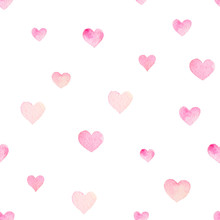 Watercolor Seamless Vector Pattern With Hearts For Valentine Day