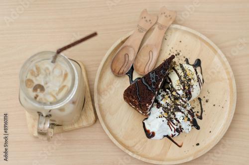 Acrylic Prints Stones in Sand Fudge cake with vanilla ice cream