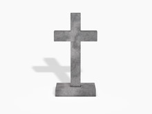 Cross Gravestone On White Background