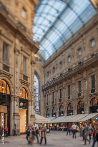 Garden Poster Napels Tilt shift photo of Gallery Vittorio Emanuele II in Milan, Italy