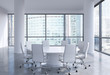 Panoramic conference room in modern office in Moscow, Russia. White chairs and a white round table. 3D rendering.
