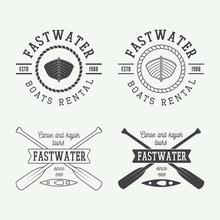 Set Of Vintage Rafting Logo, Labels And Badges.