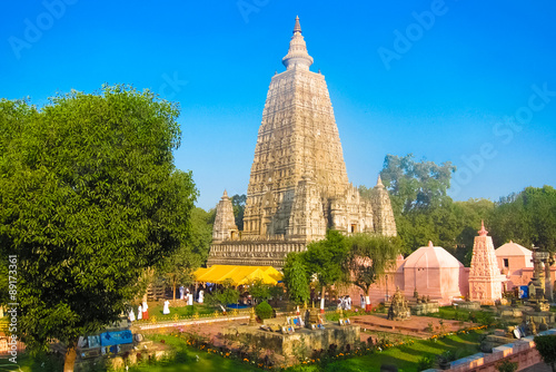 Fotoposter Temple Mahabodhi temple, bodh gaya, India. The site where Gautam Buddha attained enlightenment
