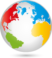 Fototapeta na wymiar Erde, Globus, Weltkugel, Vektor
