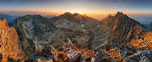 Fototapeta Mountain sunset panorama from peak - Slovakia Tatras obraz