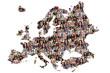 canvas print picture - Europa Karte Menschen junge Leute Gruppe Integration multikultur