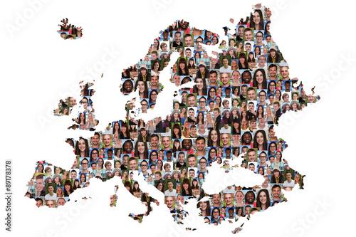 Europa Karte Menschen junge Leute Gruppe Integration multikultur