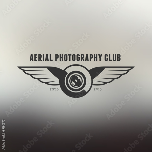 Drone vintage style label Wall mural