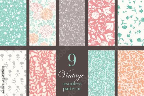 Stoffe zum Nähen Vector Vintage Floral elegante 9 nahtlose Muster