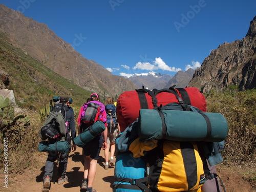 Hikers on the Inca Trail Fototapet