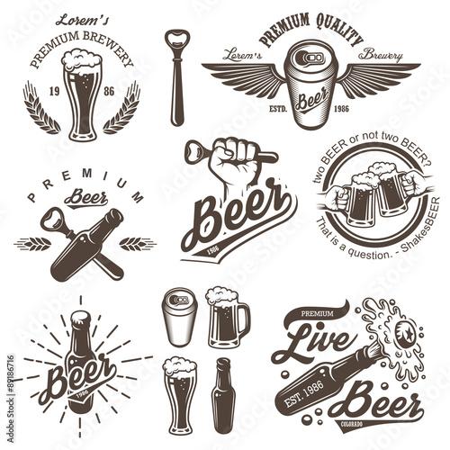Set of vintage beer brewery emblems Wallpaper Mural