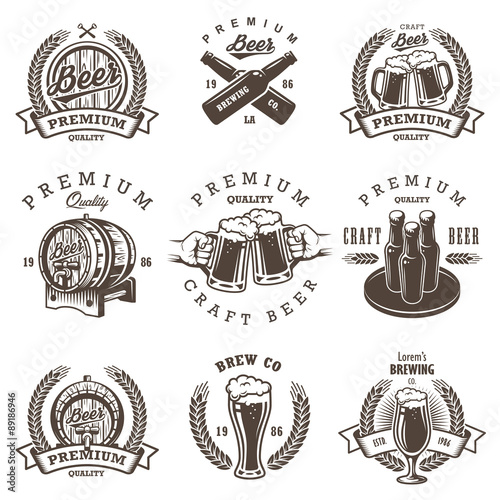 Obraz na płótnie Set of vintage beer brewery emblems