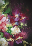 bouquet flowers on dark background in oil painting style,illustration - 89188385
