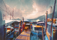Colorful Painting Of Fishing B...