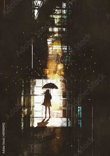 Obraz w ramie silhouette of woman with umbrella standing at window with bright light from outside,illustration painting