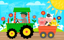 Fun In The Farm - Farmer With A Tractor Is Driving A Cart With Pig, Cow And A Chick. Eps10