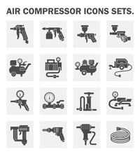 Air Compressor Icon. Consist Of Spray Gun Or Airbrush For Auto Paint Repair. Including With Pressure Tank, Bicycle Pump, Air Blow Gun, Pressure Gauge, Pneumatic Staple, Drilling Tool, Jack Hammer Etc.