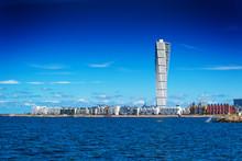 Swedish Malmo West Harbor Area Cityscape With Turning Torso