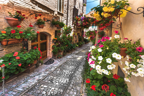 Fototapety, obrazy: Floral street in central Italy, in the small Umbrian medieval to