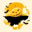 Leinwandbild Motiv Grungy Halloween background with pumpkins and bats