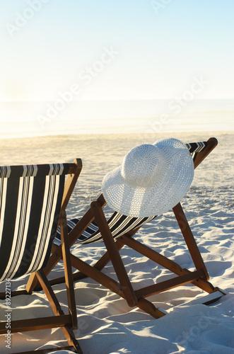 Canvas Print Chair facing the ocean