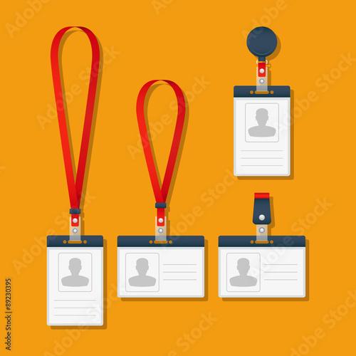 Lanyard Name Tag Holder And Badge Templates Vector Illustration