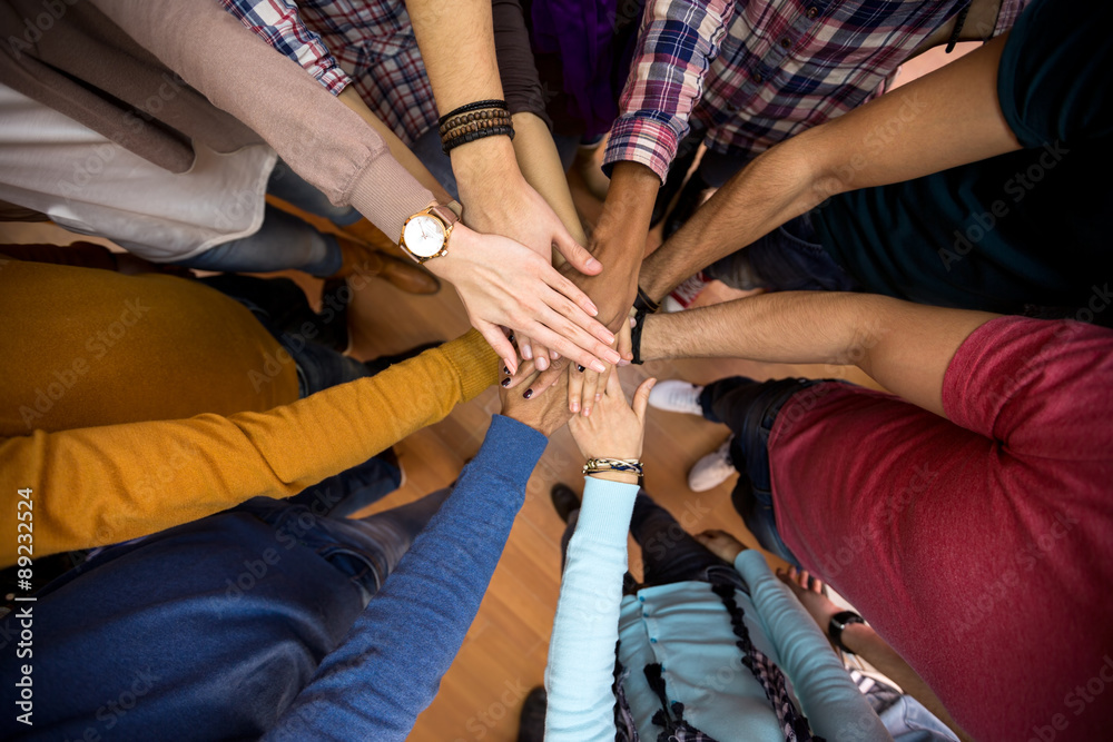 Fototapety, obrazy: All hands together, racial equality in team