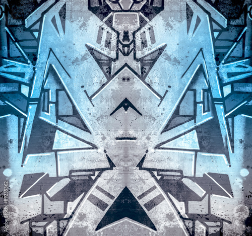 Plakat Atrament, sztuka miejska i współczesna, obrazy geometryczne w ścianie cementowej