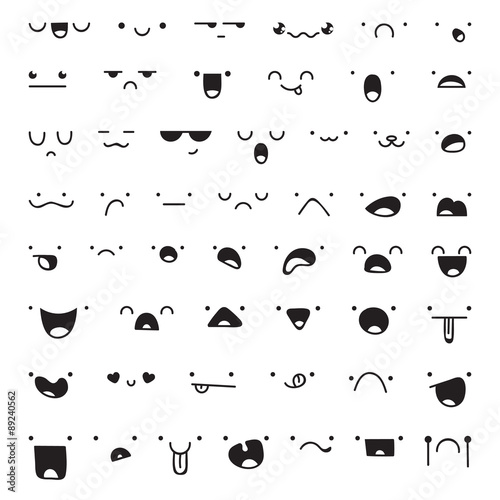 Set of 52 different pieces doddle emotions to create characters - 89240562