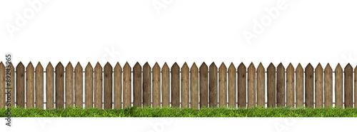 Fotografie, Obraz Wooden fence isolated on white background.