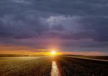 Road Ahead And The Sunrise