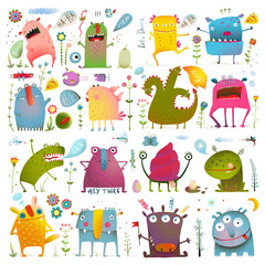 Naklejka Do pokoju dziecka Fun Cute Cartoon Monsters for Kids Design Collection