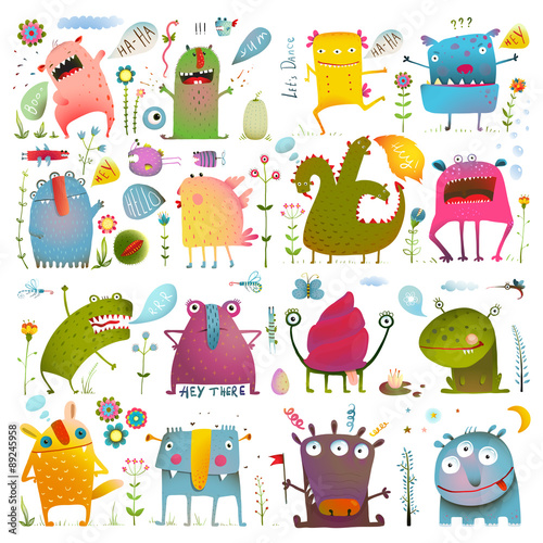 Fotografie, Obraz  Fun Cute Cartoon Monsters for Kids Design Collection