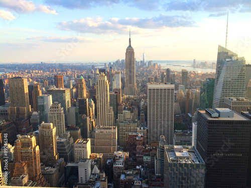 Poster New York New York vista al tramonto da top of the rock