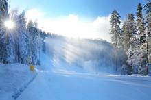Snowstorm On Ski Slope