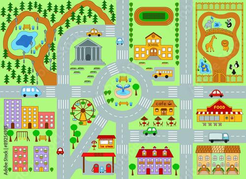 Deurstickers Op straat City Map for Kids