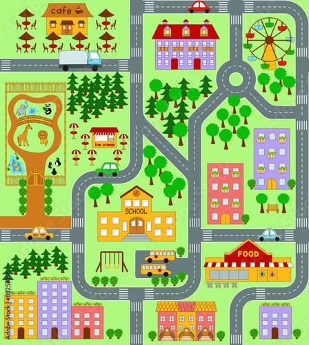 Deurstickers Op straat City Map seamless pattern