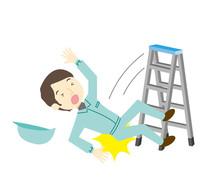 脚立から転落する作業員の男性