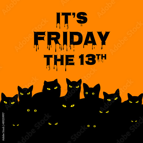 Poster  Friday 13 with black cats