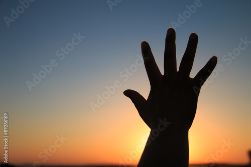 Hand silhouette at sunset Wallpaper Mural