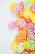 Jelly sweet, flavor fruit, candy dessert colorful on white paper