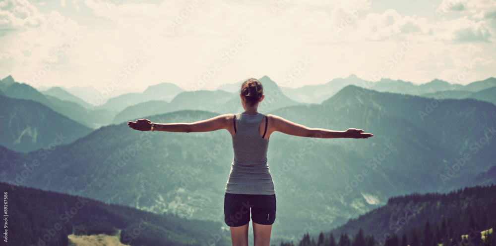 Fototapety, obrazy: Woman celebrating nature and reaching the summit