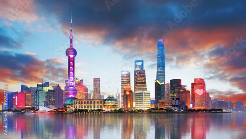Spoed Foto op Canvas Shanghai China - Shangahi skyline