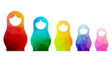 Russian Dolls Icons Set Logo Silhouette Mosaic Faceted