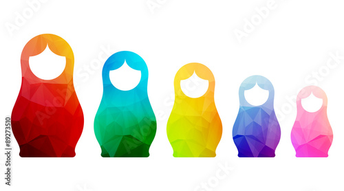 Russian dolls icons set logo silhouette mosaic faceted Canvas Print