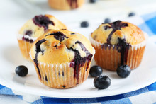 Tasty Blueberry Muffins On A White Wooden Background