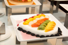 Jelly Pudding Mixede Fruit Salad, Dessert.