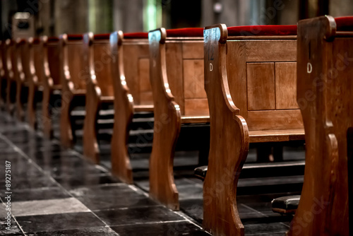 Wooden pews in a row in a church Wallpaper Mural