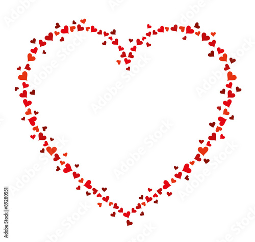 Vector frame of many hearts for text on white background. Valentines ...