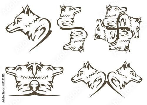 Tribal Wolf Symbols Predator Wolf Head Tattoos Buy This Stock